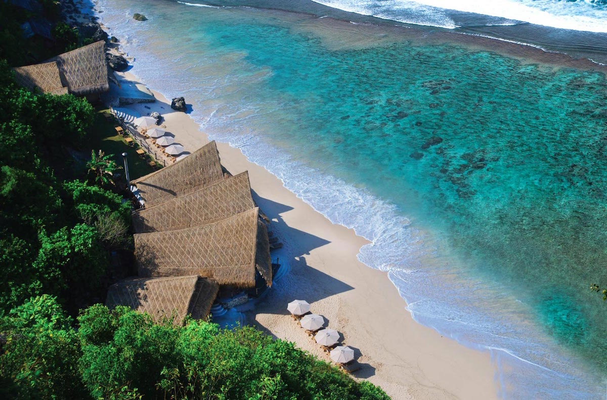 aerial shot sundays beach club uluwatu bali